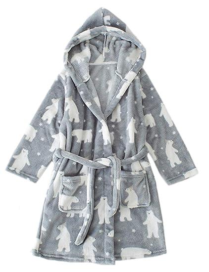 30790cd9c1 Amazon.com  Kids Winter Plush Hooded Robe Soft Fleece Bathrobe for ...