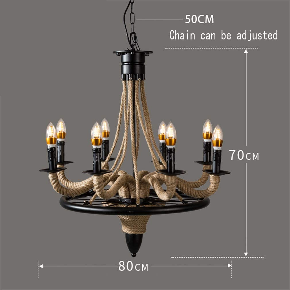 Meiyang Retro Style Twine Chandelier 8 Lamp Holder E27 Industrial Creative Living Room Dining Room Ceiling Decoration Lamps (With Bulb)