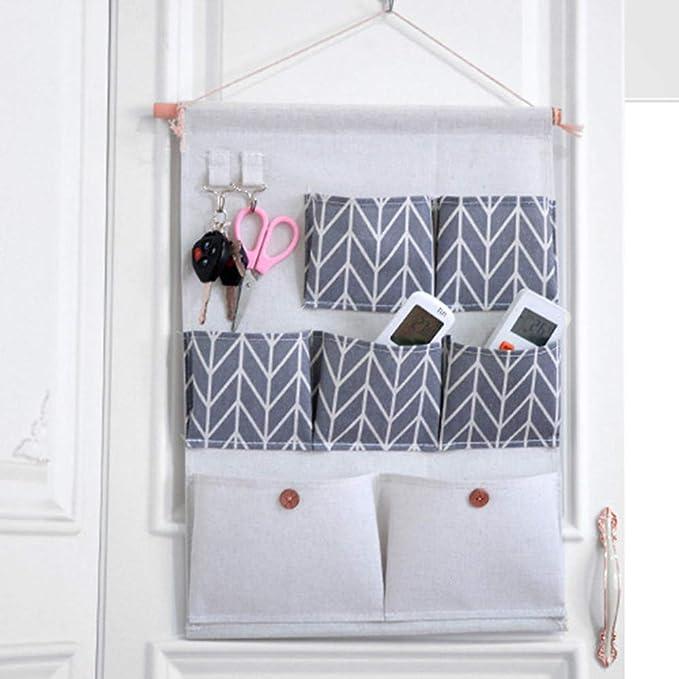 bagno 49 * 34.5cm contenitore porta giocattoli Contenitore per tasca per camera da letto Sherieno Borsa portaoggetti con tasche Organizer da appendere a parete con 7 tasche cucina