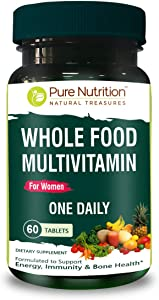 Pure Nutrition Whole Food Multivitamin for Women 1500mg. All Natural Plant Based Women's MULTIVITAMIN | Once Daily | 60 Tablets - 2 Months Supply.