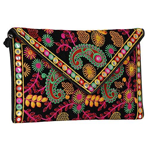 Indian Rajasthani Handmade Foldover Clutch Purse-Sling Bag-Cross Body Bag (Black & Multicolored)
