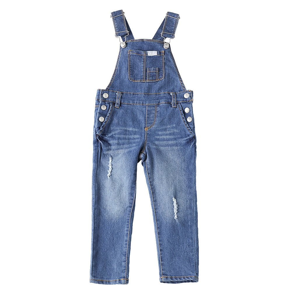 Snowdreams Girls Denim Overalls Ripped Holes Suspender Trousers Size 2T