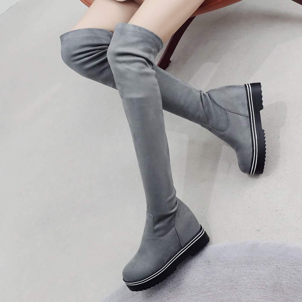 HOURNJIE Damen Mode Herbst Über Die Knie Stiefel 2018 Herbst Mode Winter Wildleder Ritter Stiefel Große Größe 33-43 ab0026