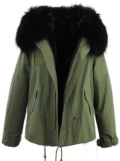 a44356ef4 S.ROMZA Women Thick Faux Fur Parka Hooded Coat Winter Jacket Detachable Fur  Trim