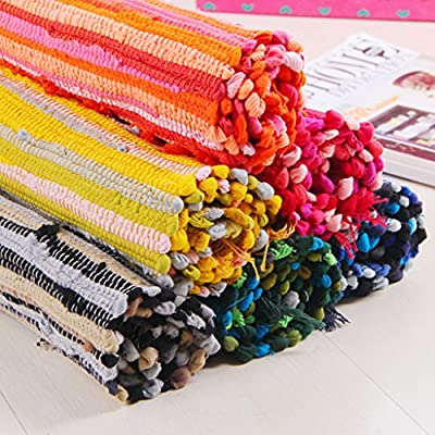 """GUchina Cotton Woven Rag Rug with Tassels, 20""""x31.5"""", Set of 2, Handmade Heavy Woven Stripe Carpet With Non-Slip Area Rug Pad"""
