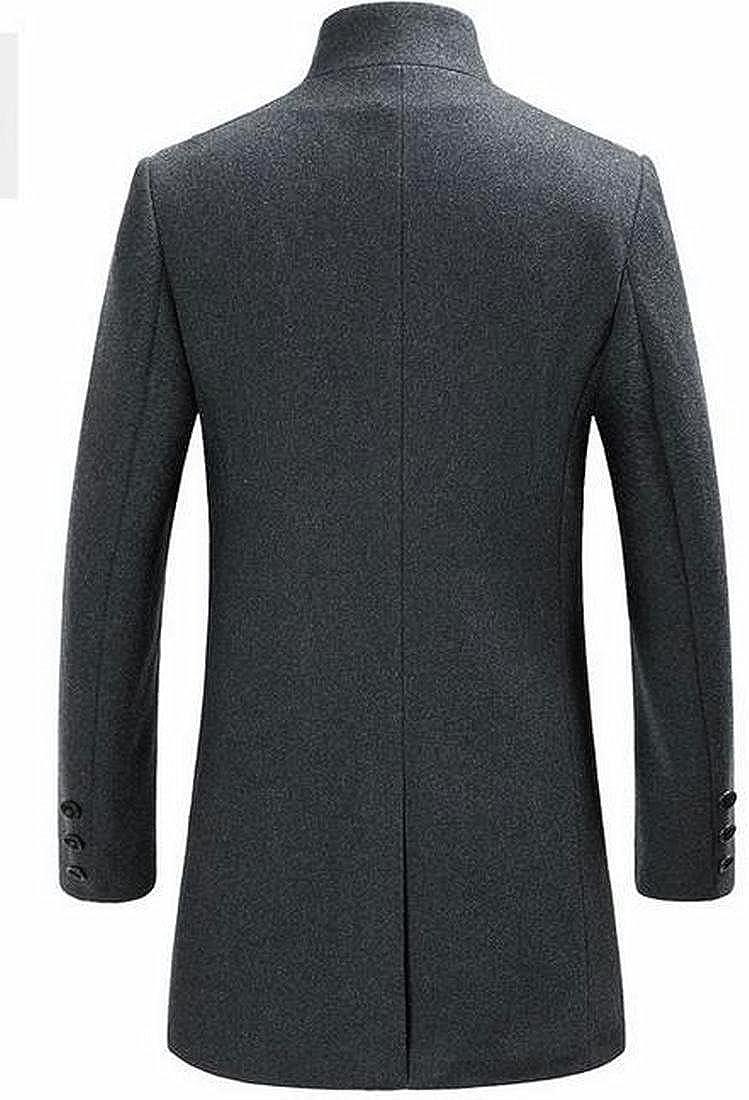 xtsrkbg Mens Casual Stand Collar Long Sleeve Solid Woolen Coat Outerwear