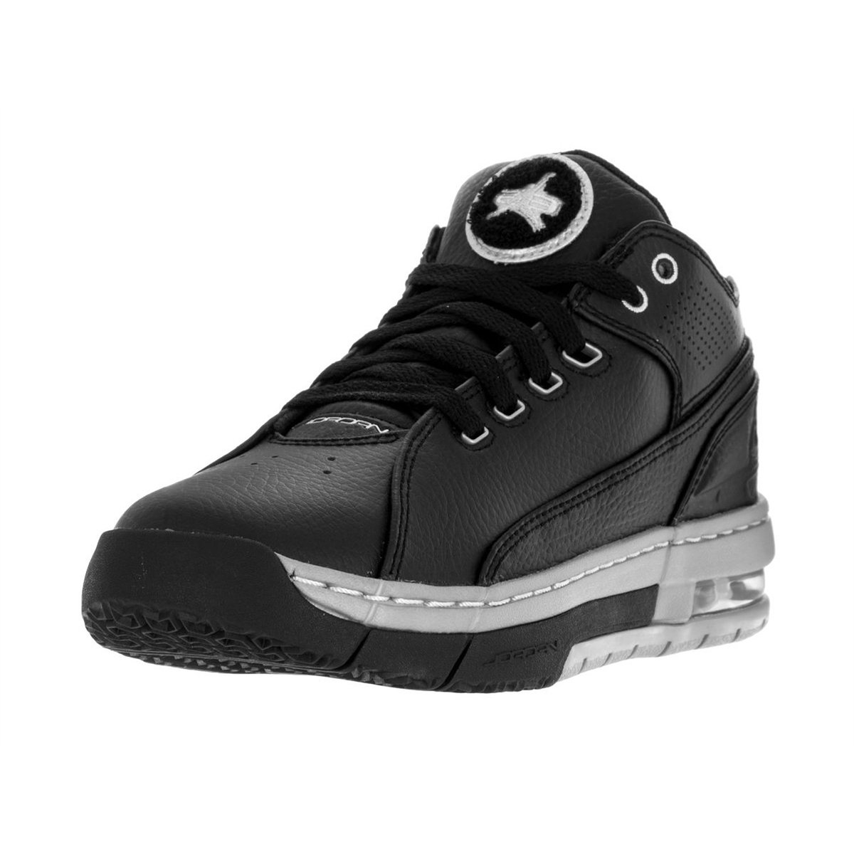 Jordan Nike Kids' Ol'School Low Black and Silver Synthetic Leather Basketball Shoes 4
