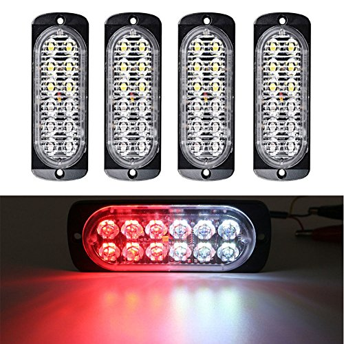 XT AUTO Super Bright Red White 12-LED Car Truck Warning Caution Emergency Construction Waterproof Beacon Flash Caution Strobe Light Bar 4-pack