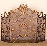 FIREPLACE SCREENS - ''BUCKINGHAM PALACE'' FIREPLACE SCREEN - ANTIQUE GOLD FINISH