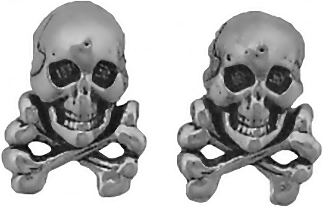 Stainless Steel Skull /& Crossbone Stud Earrings