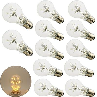 12xa60(A19) Edison E273W Lampe Ampoule Style vintage rétro 2200K Décoration Ampoule à incandescence–warmgelb lumière.
