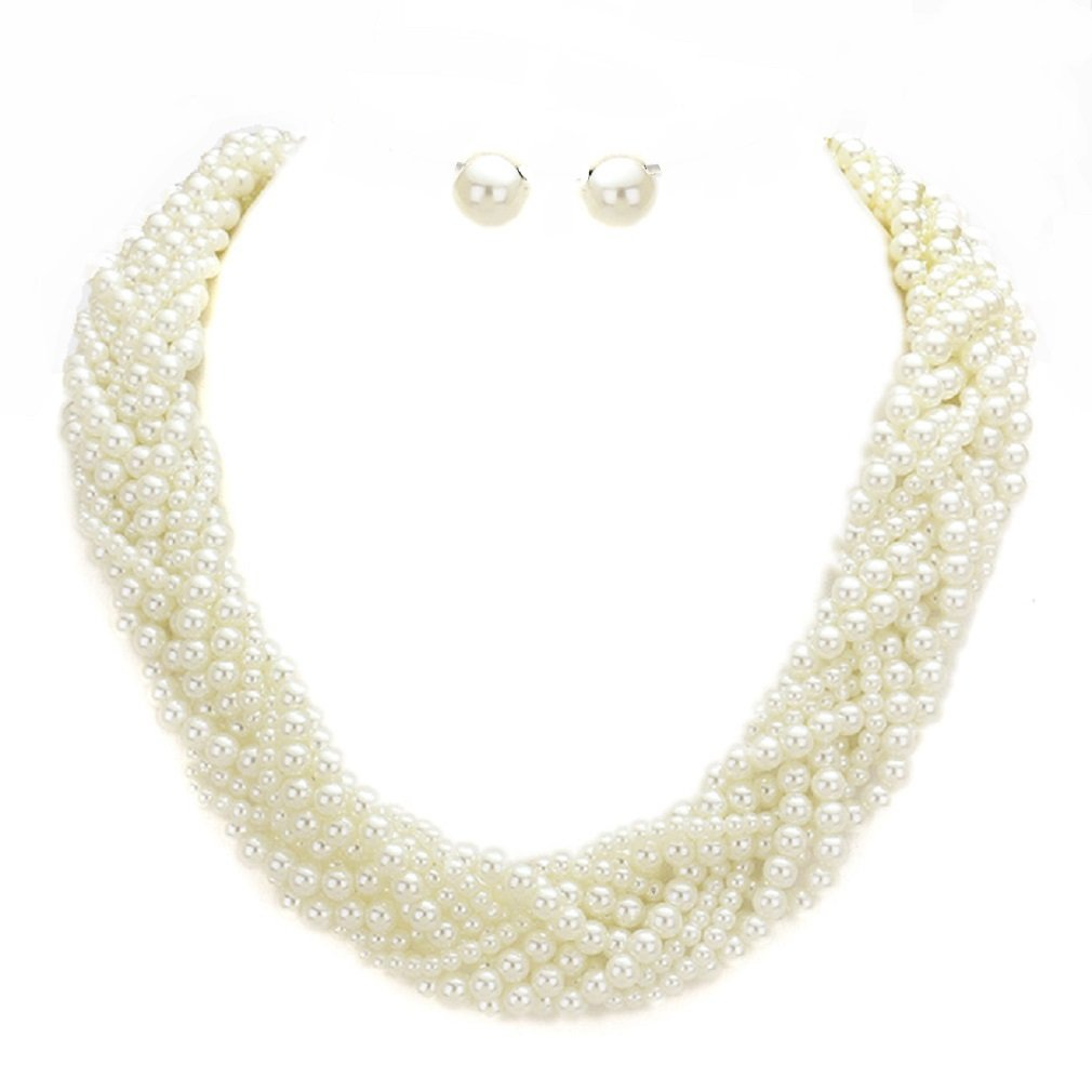 uniklook Jewelry Classic Simulated-Pearl Braided Chunky Necklace Earrings Set Wedding Prom Bridal Bridesmaid (Cream)