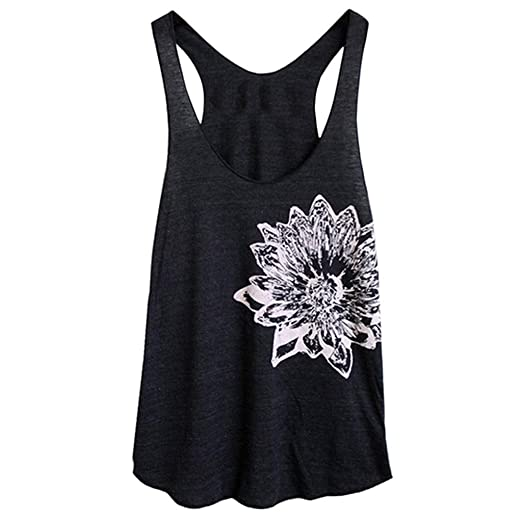 Letdown Women S Sleeveless Flower Print Vest Casual Loose Tank Top