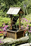 Wishing Well Wood Outdoor Patio Water Fountain with Pump SKU: PL50002