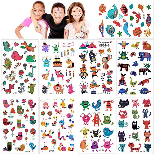 160Pcs Animal Zoo Temporary Tattoo Kit Waterproof Fake Body Stickers Kids Lion Cartoon Tiger Cat Monster Butterflies Flowers Hearts with Transfer Paper for Safari Theme Birthday Party Favors Supplies]()