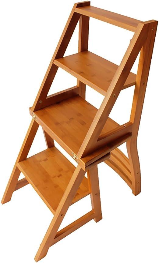 WUFENG - Escalera Plegable de Madera para sillas, Taburete de Escalera de Madera Maciza, 3 peldaños, Color Original, 38 x 20 x 64 cm: Amazon.es: Juguetes y juegos