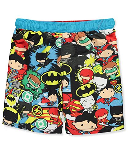 Justice League Little Boys' Toddler Boardshorts - Black/Multi, 3t (Boardshort Boys Toddler)