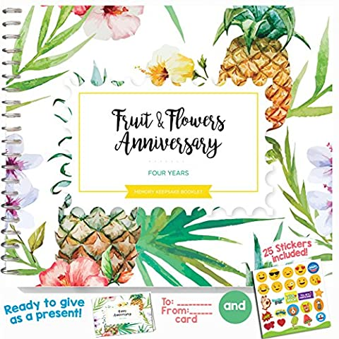 4TH WEDDING ANNIVERSARY GIFTS FOR COUPLES – Four Years Memory Journal for Husband or Wife | Fruits and Flowers Anniversary Booklet with love quotes and frames to add your pictures for him or - Flowers And Gifts