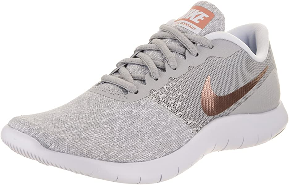 f4af67a5e8c5b Nike Women Flex Contact Wolf Grey Metallic Rose Gold 7 M Fabric Running Shoe