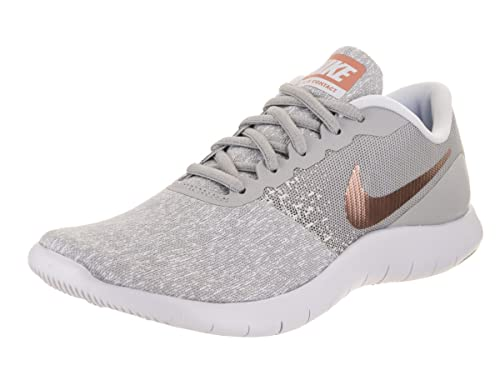 d16776a79d114 Nike Women Flex Contact Wolf Grey/Metallic Rose Gold 8 M Fabric Running Shoe