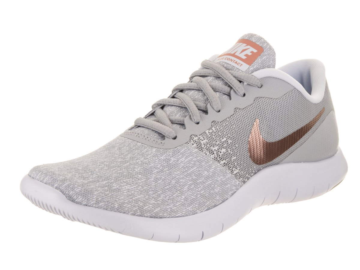 NIKE Women's Flex Contact Running Shoe B0763RQXVB 7.5 B(M) US|Wolf Grey/Metallic Rose Gold