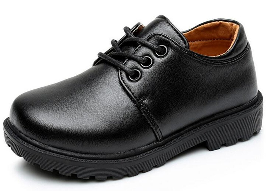 Bumud Boy's Girl's Leather Lace Up School Uniform Oxford Dress Shoe (Toddler/Little Kid) (11 M US Little Kid, Black 2)
