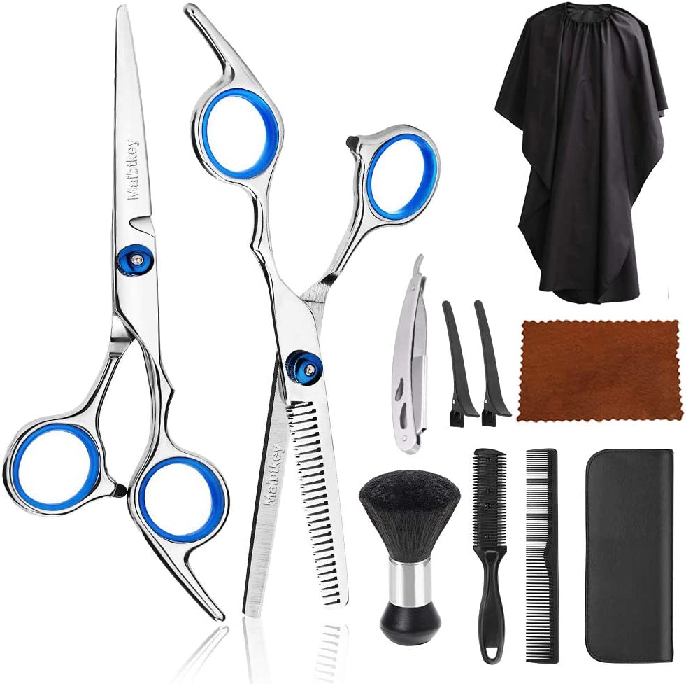 12Pcs Hair Cutting Scissors, Professional Hair Cutting Scissors Set,  Hairdressing Scissors Kit Haircut Accessories,Comb,Cape,Clips,  Razor,Stainless