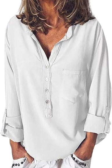 RISTHY Blusa de Cuello Solapa Camisa Botones Color Sólido Camiseta de Oficina Camisa Mujer Casual Camiseta de Mangas Largas Blusa con Bolsillo T-Shirt ...