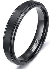 TIGRADE 4mm 6mm 8mm Titanium Rings Wedding Band Matte Comfort Fit for Men Women