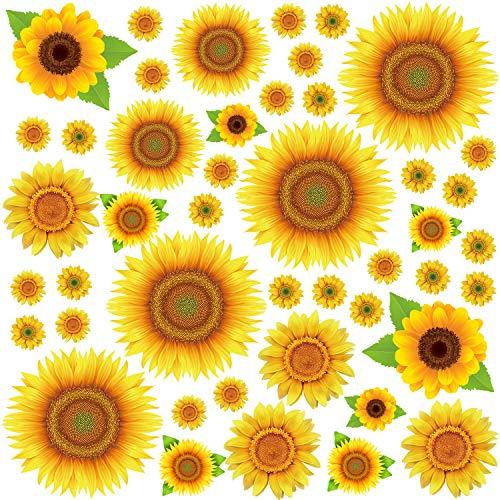Sunflowers Wall Sticker Yellow Flowers Wall Decals Floral Removable Wall Stickers Wall Decal for Kids Nursery Bedroom 45Pcs (Stickers Wall Sunflower)