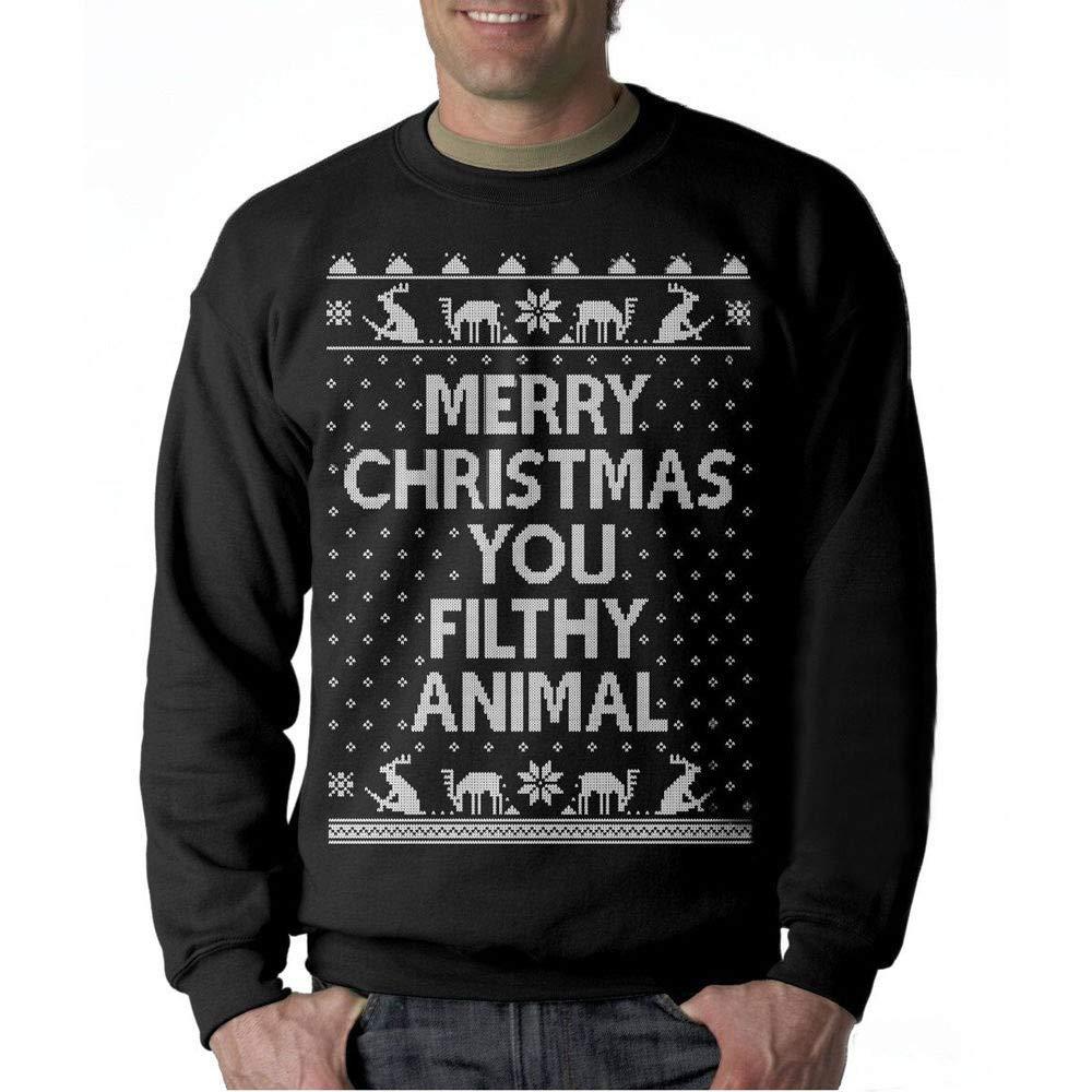 Caopixx Men's Sweatshirts Plus Size Christmas Letter Print Casual Loose T-Shirt Tops Tee Soft