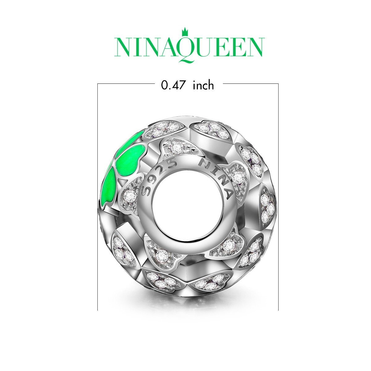 NINAQUEEN Lucky Clover Silver Heart Mint Clovers Openwork Bead Charms for Pandöra Bracelets Necklace Jewelry Making Birthday Anniversary Women Gifts for Her Wife Girlfriend Daughter Teen Girls Kids by NINAQUEEN (Image #2)
