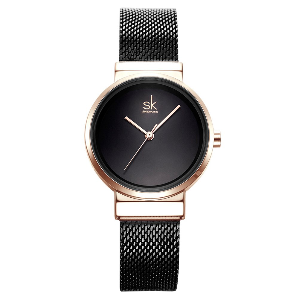 Amazon.com: Women Simple Mesh Bracelet Watch Girl Stainless Steel Band Analog Watches (0083 Black): Watches