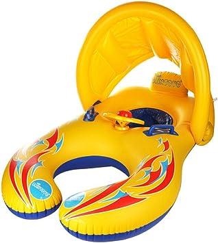 HONGCI - Flotador de natación para madre y bebé con toldo hinchable, (doble asiento, para bebé de 6 a 36 meses)