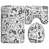 Huadduo Black And White Sketch Style Gaming Design 3 Piece Bath Rug Set Bathroom Rug Contour Lid Cover