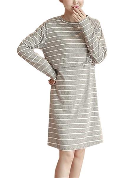 a98e08ef4286 Kerlana Donna Abito Prémaman per L allattamento Vestito Manica Lunga Comoda  Classico A Righe Vestito Allattamento Casual Allentato  Amazon.it   Abbigliamento