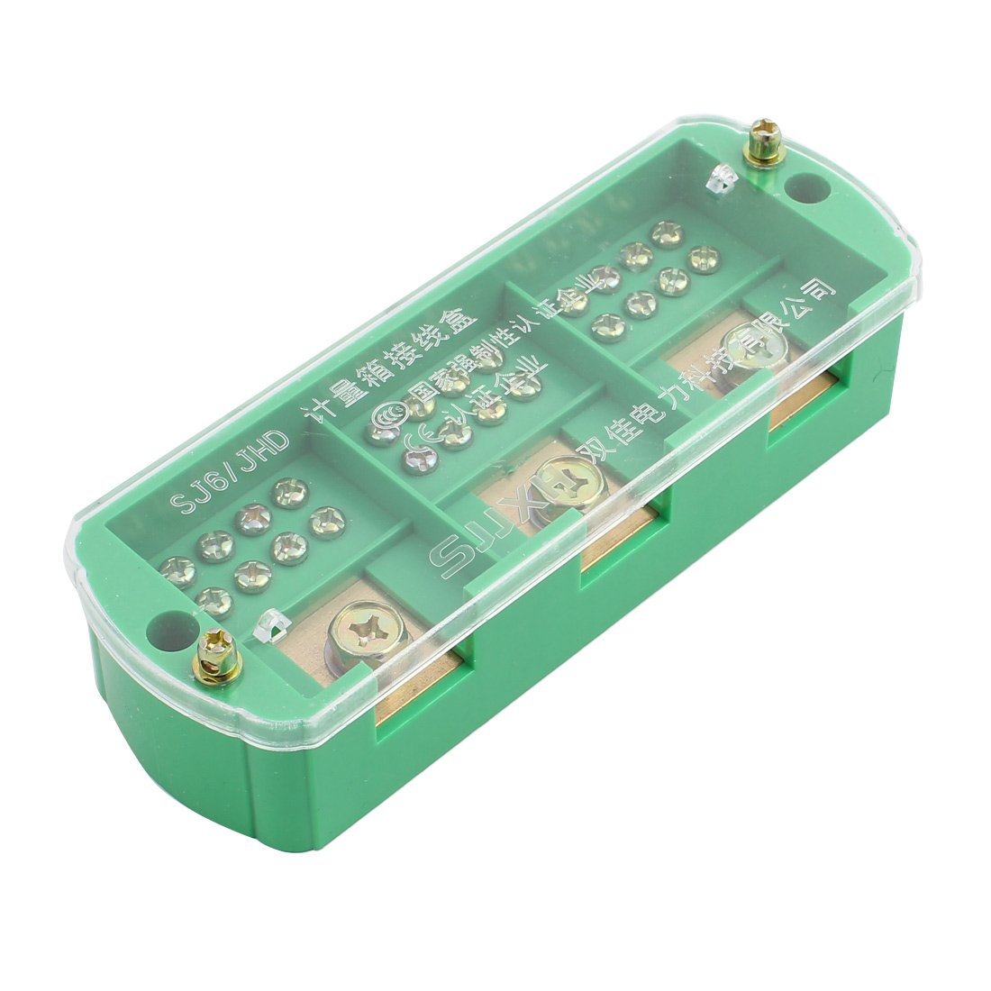uxcell 3 Phase 12 Electricity Meter Cable Barrier Block Terminal Strip Green