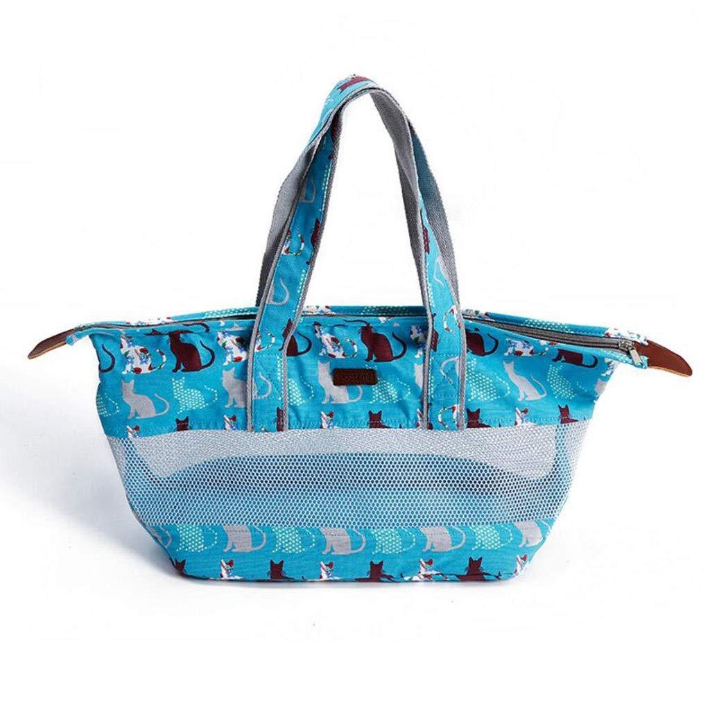 bluee FJH Grid Pet Box Ventilation Cage Cat Dog Portable Travel Transport Car Out Shipping 2 color 64  18  48cm (color   bluee)