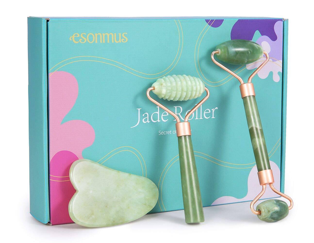 esonmus Jade Roller For Face, 3 in 1 Jade Face Roller Set with Gua Sha Massager Tool, 100% Real Natural Jade Stone Roller for Face, Eye, Neck, Anti Aging, Reduce Wrinkles by esonmus