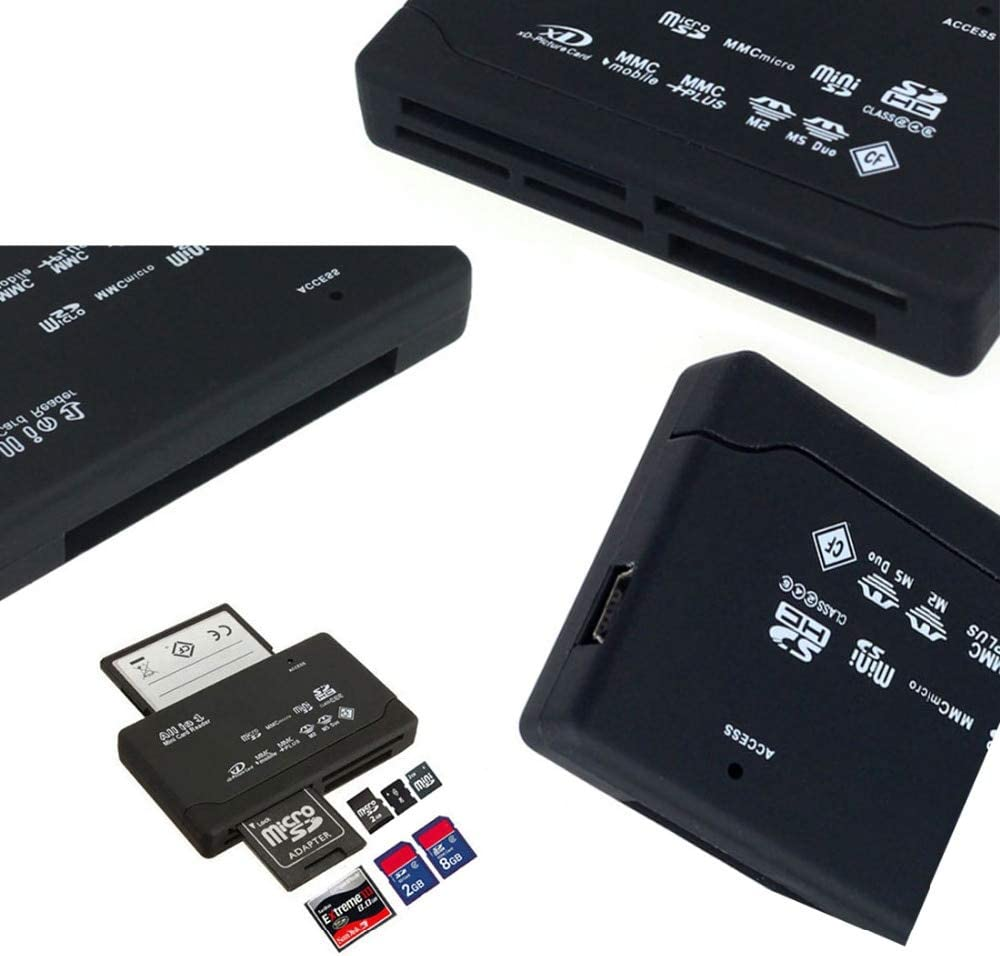Kavas Micro All in One Memory Card Reader USB External SD SDHC Mini Micro M2 MMC XD CF Read and Write Flash Memory Card