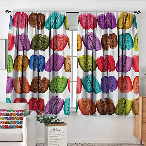 Colorful Waterproof Window Curtain French Macarons in a Row Coffee Shop Cookies Flavours Pastry Bakery Food Design Blackout Draperies for Bedroom 72