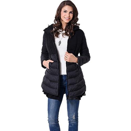 BOMOVO Capa gruesa capucha de manga larga de las mujeres cintura slim