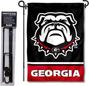 College Flags & Banners Co. Georgia Bulldogs Garden Flag and Flag Stand Pole Holder Set