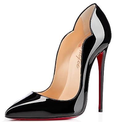 bc02c4f501064 SHOFOO Stiletto Cuir Brillant Synthétique Talon Aiguille Bout Pointu Femme  Chaussures