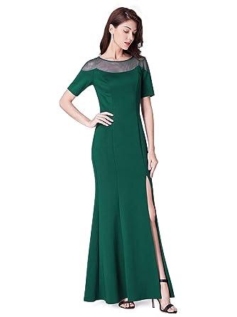 4816a8af81b Ever-Pretty Fendue Robe de Soirée Femme Longue Manches Courtes Élégante  07488  Amazon.fr  Vêtements et accessoires