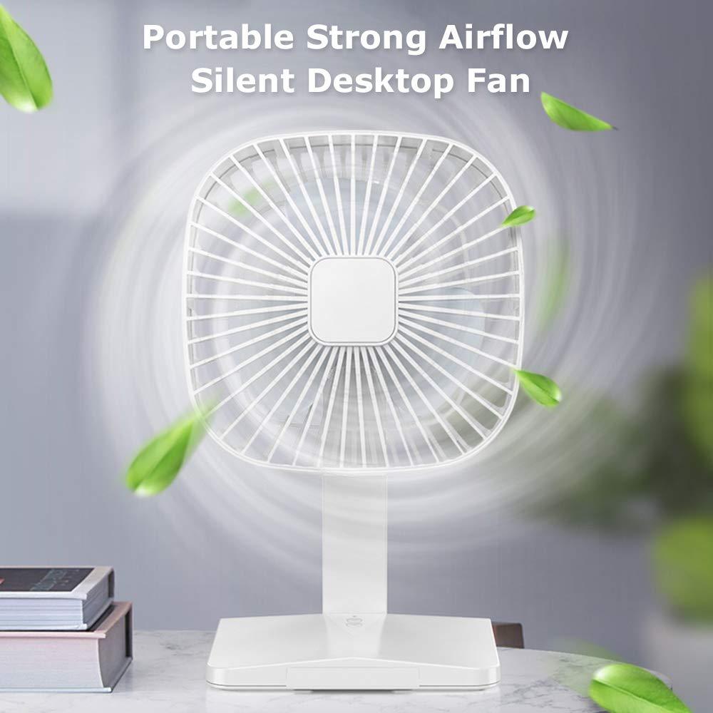 USB Rechargeable Fan 2000mAh 3 Speeds Portable Fan Strong Airflow Silent Desktop Fan with Base