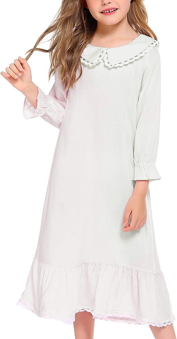 Victorian Kids Costumes & Shoes- Girls, Boys, Baby, Toddler Arshiner Girls Princess Nightgown Cotton Vintage Long Sleeve Sleepwear Nightdress $18.99 AT vintagedancer.com