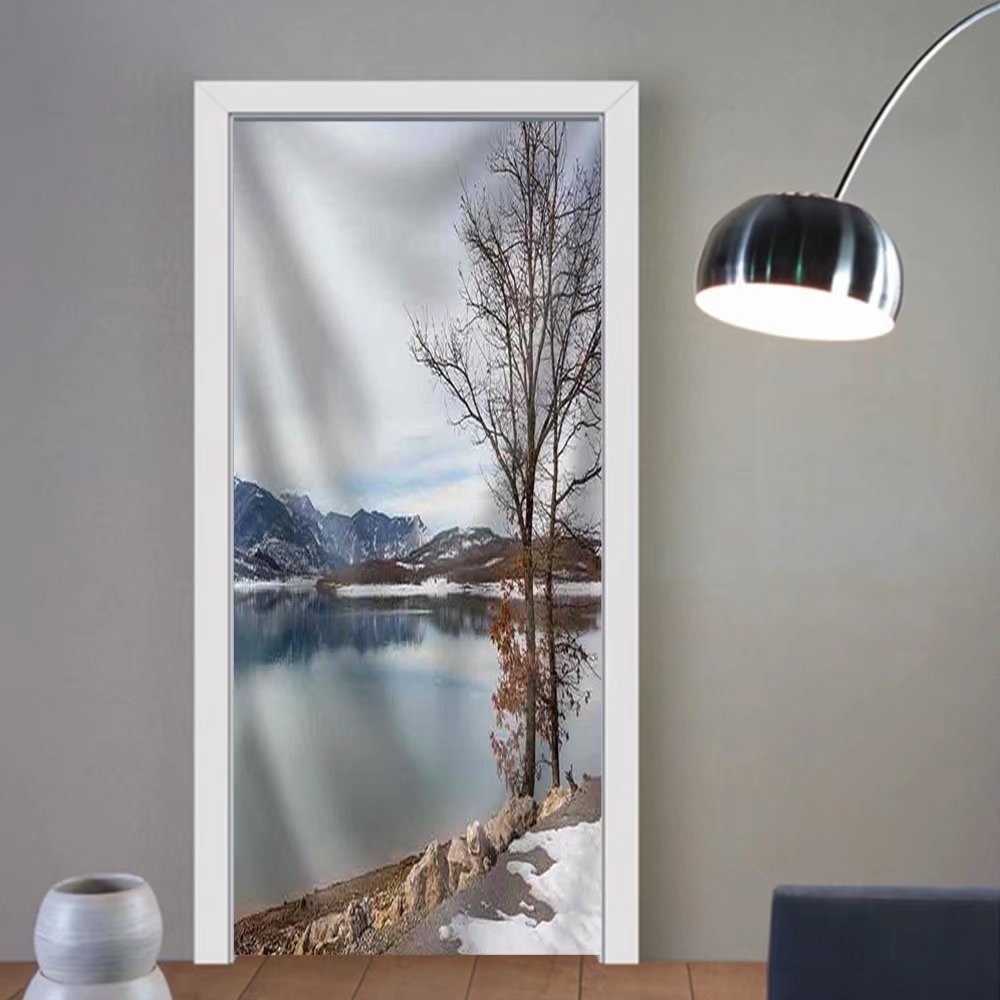 Gzhihine custom made 3d door stickers Lake Plastiras in the Winter Thessaly Greece Fabric Home Decor For Room Decor 30x79