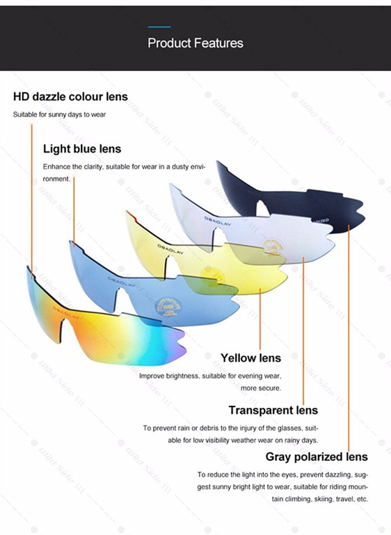 12fac51bbe2 Amazon.com   Runspeed Polarized Sports Sunglasses UV400 with 5  Interchangeable Lenes for Men Women Cycling Running Driving Fishing Golf  Baseball Glasses ...