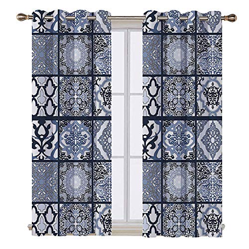 - Curtains - 108W x 84L Inch- Light blocking window treatment for bedroom decor 2 panels set.Ethnic Antique Arabian Oriental Mosaic with Ornaments Eastern Geometric Tile Dark Blue Baby Blue White.